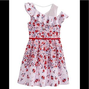 Beauties Big Girls Floral Print Dress + necklace